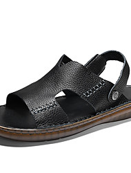 cheap -Men's Comfort Shoes Nappa Leather Fall / Spring & Summer Classic / Vintage Sandals Breathable Black / Brown