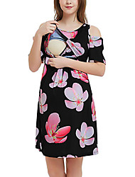 cheap -Women's Maternity Above Knee Swing Dress - Short Sleeve Striped Patchwork Print Basic White Black Blushing Pink S M L XL XXL