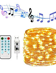 cheap -Sound Control 20m String Lights Outdoor String Lights 200 LEDs 17-Key Remote Controller White RGB Warm White Party USB USB Powered 1 set