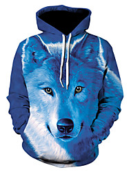 cheap -Men's Hoodie Jacket 3D Animal Hooded Basic Hoodies Sweatshirts  Royal Blue