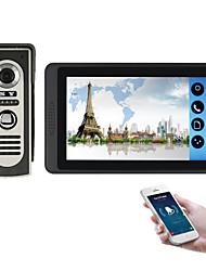 Недорогие -618m11 7-дюймовый емкостный сенсорный экран видеокамеры проводной видео дверной звонок Wi-Fi / 3 г / 4 г удаленного вызова разблокировки хранения визуальный домофон один в один