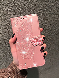cheap -Case For LG LG Stylo 4 / LG Q7 / LG K40 Wallet / Card Holder / Rhinestone Full Body Cases Butterfly / Flower Soft PU Leather