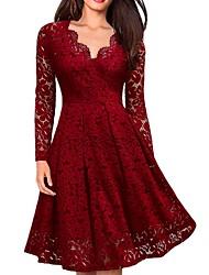 cheap -Women's A Line Dress Black Wine Long Sleeve Lace Deep V S M L XL XXL
