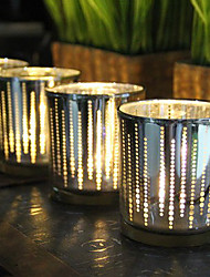 cheap -Plating Silver Dot Glass Candlestick Desktop Decoration Wedding Decoration
