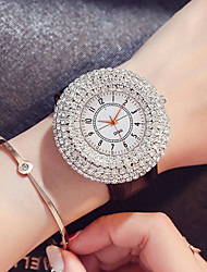 cheap -Women's Quartz Watches Quartz Stylish Luxury Water Resistant / Waterproof PU Leather Black / White / Red Analog - White Black Red One Year Battery Life / Imitation Diamond