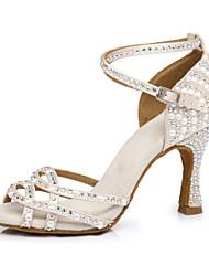 cheap -Women's Latin Salsa Dance Heel Rhinestone Flared Heel Peep Toe Nude Buckle Glitter Crystal Sequined Jeweled / Performance