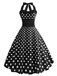 cheap -Audrey Hepburn Country Girl Polka Dots Retro Vintage 1950s Rockabilly Summer Dress Masquerade Women's Costume Black Vintage Cosplay Homecoming School Office Sleeveless Medium Length A-Line