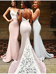 cheap -Mermaid / Trumpet Spaghetti Strap Court Train Satin Bridesmaid Dress with Appliques / Lace / Open Back