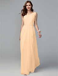 cheap -A-Line One Shoulder Floor Length Chiffon Bridesmaid Dress with Pleats / Split Front