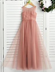 cheap -A-Line Crew Neck Maxi Lace / Tulle Junior Bridesmaid Dress with Lace / Pleats