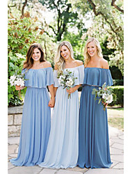 cheap -A-Line Off Shoulder Floor Length Chiffon Bridesmaid Dress with Ruching / Ruffles