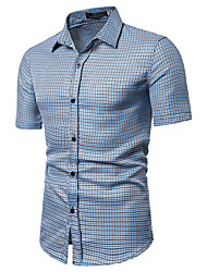 cheap -Men's Houndstooth Slim Shirt Basic Daily Going out Wine / Light Brown / Blushing Pink / Fuchsia / Light Blue / Short Sleeve