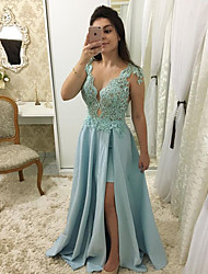 cheap -A-Line Scalloped Neckline Sweep / Brush Train Chiffon Elegant Formal Evening Dress 2020 with Appliques / Split Front