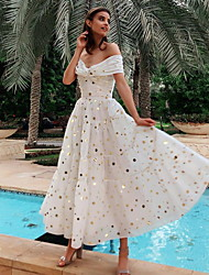 cheap -A-Line Off Shoulder Ankle Length Polyester Elegant Cocktail Party / Holiday Dress 2020 with Sequin