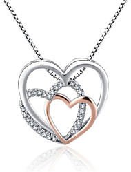 cheap -Women's Cubic Zirconia Pendant Necklace Geometrical Heart Fashion Chrome White 45+5 cm Necklace Jewelry 1pc For Gift Daily