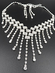 cheap -Women's Drop Earrings Pendant Necklace Bridal Jewelry Sets Tassel Stylish Tassel Rhinestone Silver Plated Earrings Jewelry Silver For Wedding Party 1 set / Long Necklace