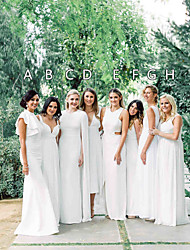 cheap -A-Line Jewel Neck / Plunging Neck Ankle Length / Floor Length Chiffon Bridesmaid Dress with Ruffles