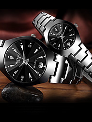 cheap -Couple's Steel Band Watches Quartz Formal Style Stylish Stainless Steel Black / Rose Gold 30 m Water Resistant / Waterproof Calendar / date / day Casual Watch Analog Luxury Fashion - Black Rose Gold