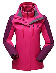 cheap -DZRZVD® Women's Hiking 3-in-1 Jackets Hiking Jacket Winter Outdoor Patchwork Waterproof Warm Detachable Cap Detachable Fleece 3-in-1 Jacket Double Sliders Camping / Hiking / Caving Traveling Winter