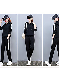 cheap -Women's Pullover High Rise Tracksuit Yoga Suit Patchwork Fashion Black White Zumba Running Fitness Hoodie Tights Clothing Suit Plus Size Long Sleeve Sport Activewear Breathable Stretchy Skinny Slim