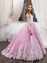 cheap -Ball Gown Sweep / Brush Train Flower Girl Dress - Cotton / Lace / Tulle Long Sleeve Jewel Neck with Beading / Appliques / Lace
