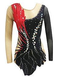 cheap -Rhythmic Gymnastics Leotards Artistic Gymnastics Leotards Women's Girls' Leotard Black High Elasticity Handmade Print Jeweled Sleeveless Competition Ice Skating Rhythmic Gymnastics Figure Skating