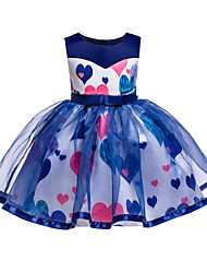 cheap -Kids Toddler Girls' Basic Cute Heart Lace Bow Patchwork Sleeveless Knee-length Dress Blue / Cotton / Print