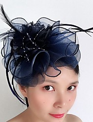 cheap -Tulle / Feathers Hair Stick / Hair Accessory with Feather / Cascading Ruffles 1 Piece Wedding / Special Occasion Headpiece