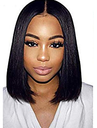 cheap -Human Hair Lace Front Wig Middle Part style Brazilian Hair Straight Black Wig 130% Density Women Women's Short Others Clytie