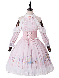 cheap -Artistic / Retro Princess Lolita Cute Dress Cosplay Costume Halloween Props Party Costume All PU Leather Japanese Cosplay Costumes Light Pink Print Flower / Floral Lace Bishop Sleeve 3/4 Length Sleeve