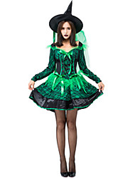 cheap -Witch Dress Cosplay Costume Masquerade Adults' Women's Cosplay Halloween Christmas Halloween Carnival Festival / Holiday Lace Satin Green Carnival Costumes Patchwork Holiday Halloween