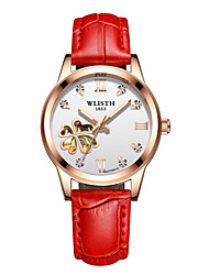 cheap -Women's Mechanical Watch Cubic Zirconia Fashion White Red Brown Genuine Leather Chinese Mechanical manual-winding Gray Rose Red Peach Water Resistant / Waterproof Hollow Engraving Noctilucent 30 m 1