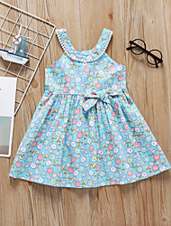 cheap -Kids Toddler Girls' Sweet Cute Floral Bow Patchwork Sleeveless Knee-length Dress Light Blue / Cotton