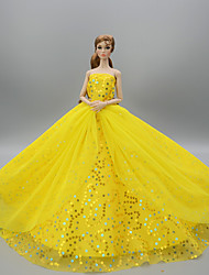 cheap -Doll Dress Party / Evening For Barbiedoll Light Yellow Rose Red White Tulle Lace Paillette Dress For Girl's Doll Toy