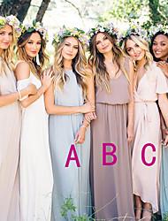cheap -A-Line Jewel Neck / Plunging Neck Floor Length / Asymmetrical Chiffon Bridesmaid Dress with Sash / Ribbon / Ruching