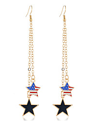cheap -Women's Drop Earrings Dangle Earrings Classic American flag Star Flag Patriotic Jewelry Simple European Trendy Fashion Modern Earrings Jewelry Gold For Gift Daily Street Festival 1 Pair