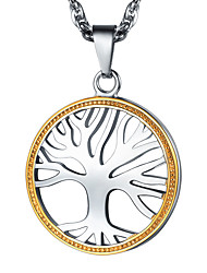 cheap -Men's Women's Pendant Necklace Necklace Charm Necklace Twisted Tree of Life Simple Fashion 18K Gold Plated Titanium Steel Silver 55 cm Necklace Jewelry 1pc For Graduation Gift Daily School