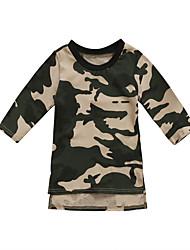 abordables -bébé Fille Actif / Basique Imprimé Manches Longues Robe Vert