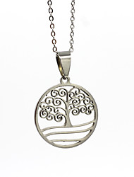 cheap -Men's Women's Silver Pendant Necklace Charm Necklace Classic Tree of Life life Tree Vintage Stainless Steel Silver 50 cm Necklace Jewelry 1pc For Wedding