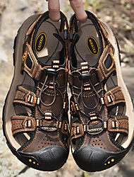 cheap -Men's Hiking Shoes Breathable Comfortable Travel Walking Summer Black Brown Brown+Gray