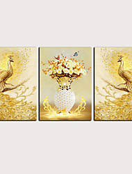 cheap -Print Rolled Canvas Prints Stretched Canvas Prints - Abstract Animals Classic Modern Three Panels Art Prints