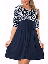 cheap -Women's Plus Size Sheath Dress - Half Sleeve Geometric Basic Slim Navy Blue L XL XXL XXXL XXXXL XXXXXL XXXXXXL