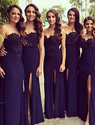 cheap -Sheath / Column Sweetheart Neckline Floor Length Chiffon Bridesmaid Dress with Appliques / Lace / Split Front / Open Back