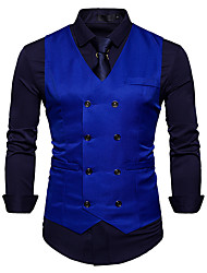 cheap -Poly&Cotton Blend Wedding / Daily Wear Vests / Work Solid Color / Solid Colored