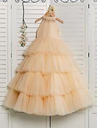 cheap -Princess Floor Length Flower Girl Dress - Tulle Sleeveless Halter Neck with Beading