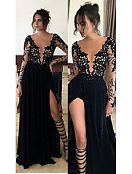 cheap -A-Line Plunging Neck Sweep / Brush Train Chiffon Elegant Formal Evening Dress with Appliques / Split Front 2020