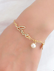 cheap -Women's Charm Bracelet Classic Love Unique Design Fashion Elegant Imitation Pearl Bracelet Jewelry Gold / Silver For Gift Prom Work Festival / Rhinestone