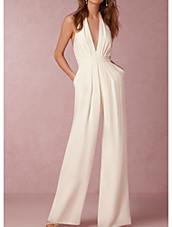 cheap -Jumpsuits V Neck Floor Length Polyester Minimalist / White Formal Evening / Wedding Guest Dress with Pleats 2020