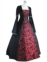 cheap -Princess Maria Antonietta Floral Style Rococo Victorian Renaissance Dress Party Costume Masquerade Women's Lace Costume Red+Black Vintage Cosplay Christmas Halloween Party / Evening 3/4 Length Sleeve