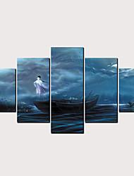 cheap -Print Rolled Canvas Prints - People Cartoon Classic Modern Five Panels Art Prints